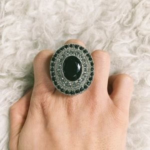 Giant Black Silver Mod Ring